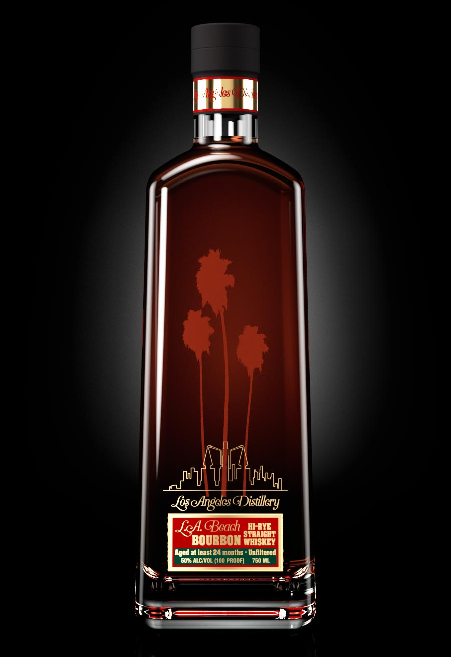 LA Distillery's LA Beach Hi-Rye Straight Bourbon Whiskey